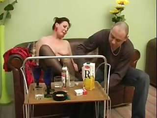 Mature girl turns into a horny bitch charges a bottle of champagne