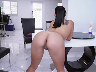 Curvy Latina cleaning the abode naked