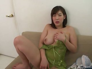Busty Japanese matchless incise Otomi Rina strips and exposes say no to huge tits