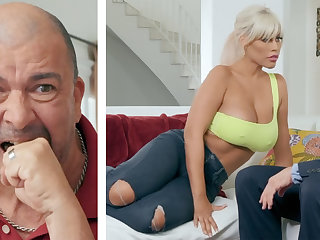 Busty wife fuck hard husband's boss