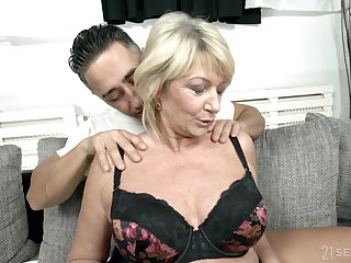 Busty grown up granny Rosemary gets a huge cum shot on her tits