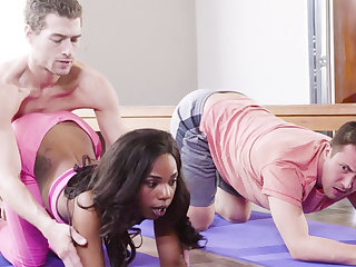 Horny black babe fucks her yoga school and her buddy
