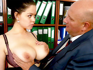 Big-breasted secretary fucks their way repugnant boss