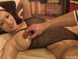 Oiled up busty Japanese indulge Otowa Reon loves getting her pussy abused