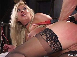Big-Breasted blond hair girl has pest fucking bdsm coitus