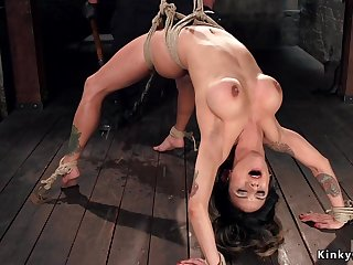 Babe in backbend subjugation toyed