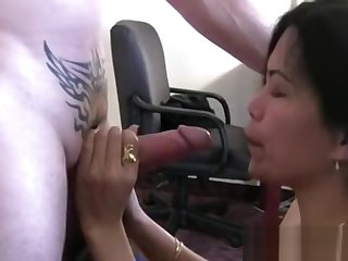 Titillating Asian amateur stuffed by a chunky white dick