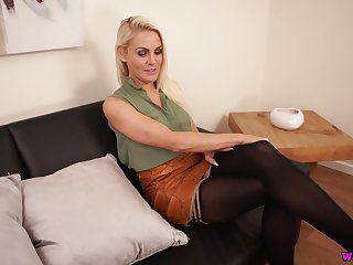 Hot blond chick Fergie is masturbating her luscious sex starved burn out a become furious