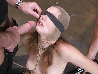 Kinky perverts fuck deep throat added to anus of tied up added to restrained bitch Ella Nova