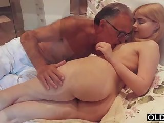 legal yo nipper smooching and pokes her step daddy in his bedroom