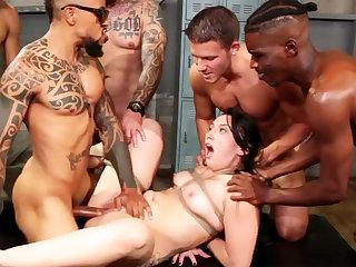 Define brunette enjoys her very sly interracial gang-bang