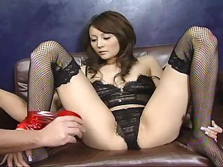 Blindfolded Japanese wide stockings gets cock wide her mouth and pussy