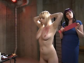 Chubby MILF lesbian mistress spanks and abuses her blonde slave