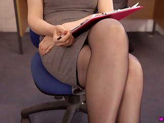 Sexretary in stockings Hannah Z shows off will not hear of yummy slit in the office