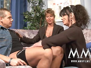 MMV Films Mature teacher having sport with a span