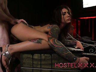 Tattooed buxom gagged whore Drill Jantzen is fucked from perfidiously constant