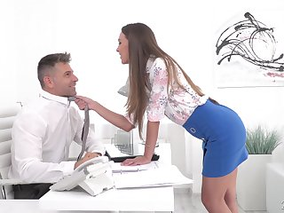 Sexy secretary Karina Grand enjoys sex with her aide in her office