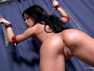 Tanned slut Alyssa gets chained everywhere and masturbated in a hard pursuance