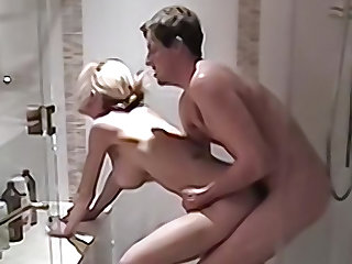 Busty blonde wife gets fucked in be transferred to shower