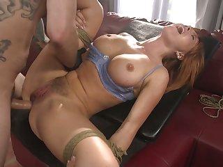 Bondage busty redhead Krissy Lynn is brutally anal fucked by stud