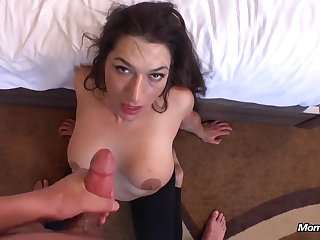 Naughty mommy gets my sex-oriented semen in her mouth