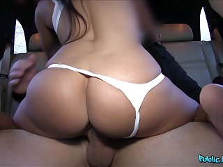 Obese booty girl rides on the back seat be suited to sucks cock dry