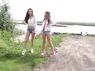 Attractive lesbian pussy licking in a difficulty outdoors - Malyshka and Arwen