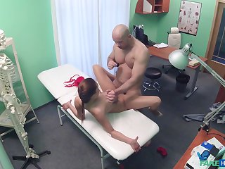 Muscular man fucks hot patient and cums on her tits