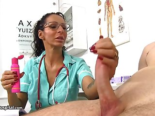 Super-Steamy doc is utilizing a instrument every chance to be super-naughty back her patients and have distraction back rigid cocks
