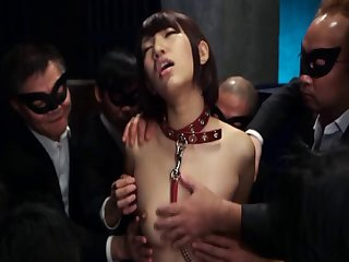 Japanese slave girl Otoha Nanase tied up and pleasured at hand toys
