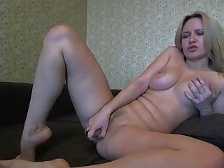 blonde marina masturbating with dildo