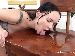 Before using a treacherous dildo naughty raven haired trull Sasha Sparrow prefers to piss