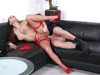 Mea Melone takes the bone while wearing titillating red fishnets