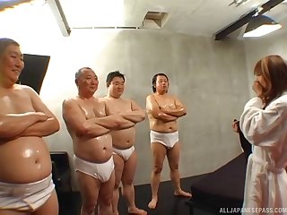 Laconic tits Mion Ayase drops on their way knees alongside be fucked by lot of dudes