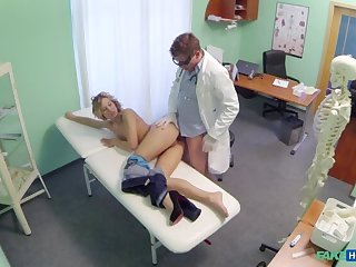 Doctor offers blonde a discount on new tits in exchange for a approving hard fucking